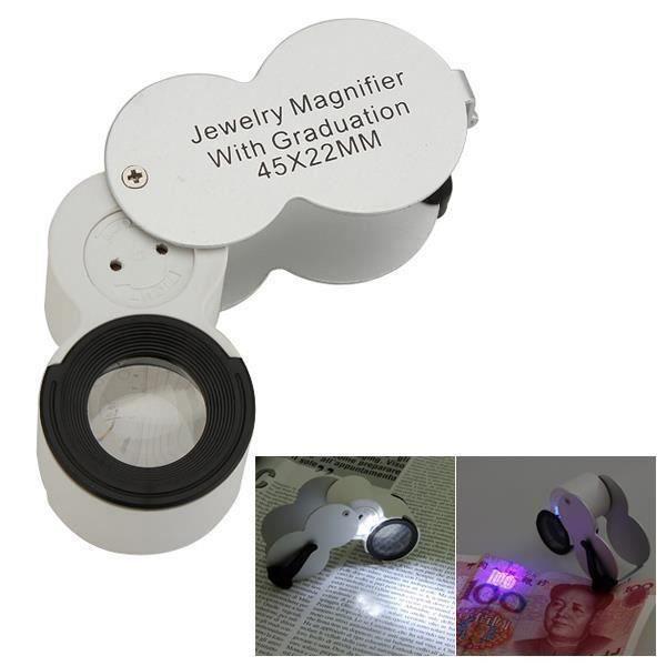 1pcs 45X Loupe LED Grossissement Pliable UV Pr Bijoutier Monnaie réparation montre L05547