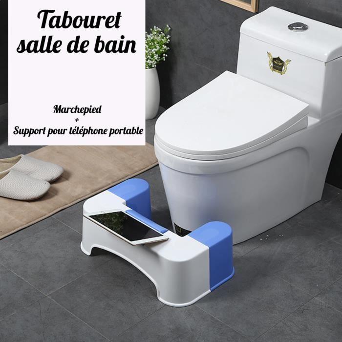 Créatif Tabouret de Toilettes Tabouret salle de bain Marchepied + Support pour Téléphone & Pad