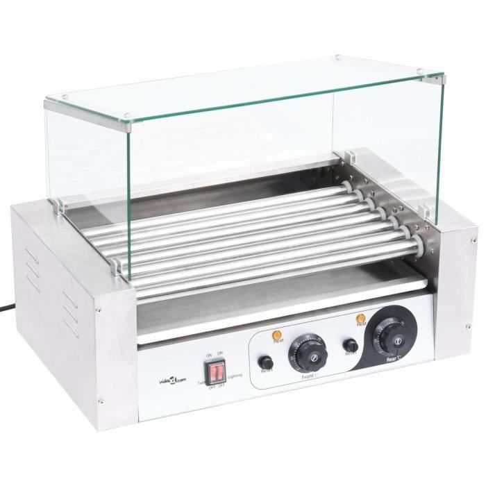 BRAVO*8499Parfait MACHINE À HOT DOG Grill Saucisses - Grill à hot-dogs Professionnel Contemporain pour Les Petits Pains à 7 rouleaux