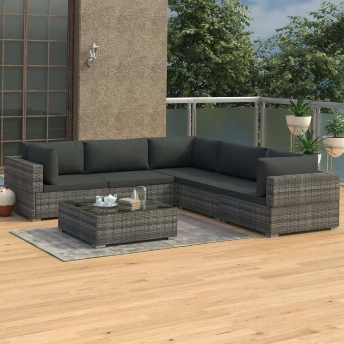 Salon de jardin 5 Places + 1 Table basse avec coussins Résine tressée Gris -ABI