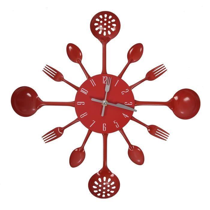 Horloge,Horloge murale cuisine design moderne articles ménagers couverts horloge murale rouge - Type Red