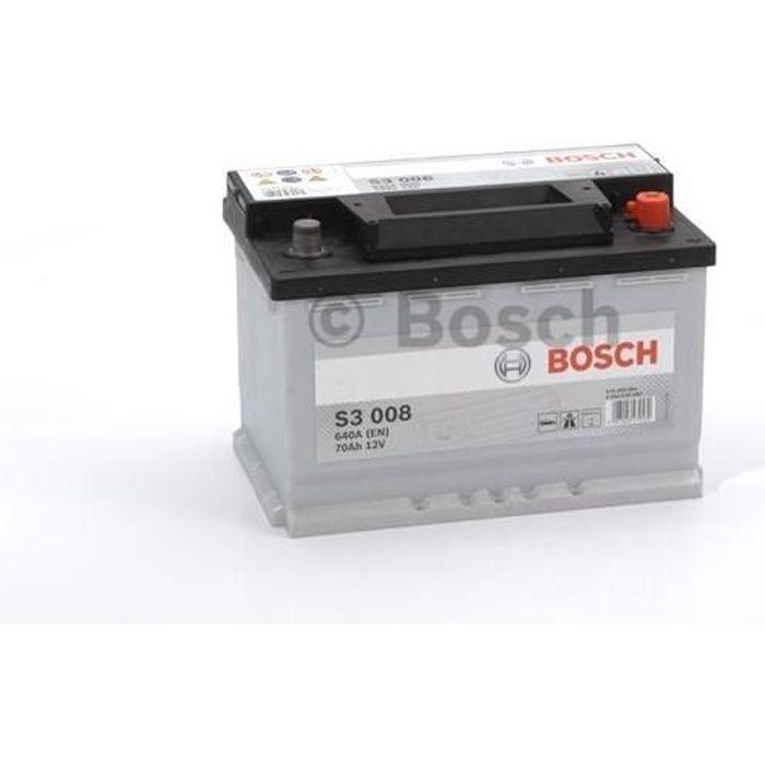 BOSCH Batterie Auto S3008 70Ah 640A / + à droite
