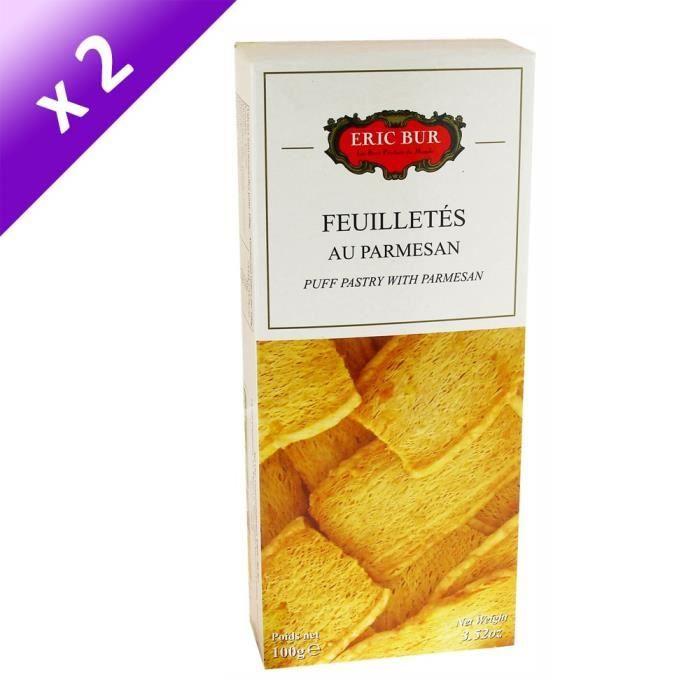[LOT DE 2] ERIC BUR Biscuits Feuilletés au Parmesan - 100 g