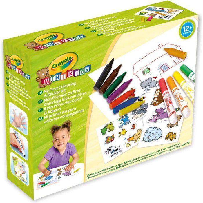 Crayola - Mini Kids - Mon premier coffret de coloriage et de gommettes - Coloriage pour enfant et tout petit