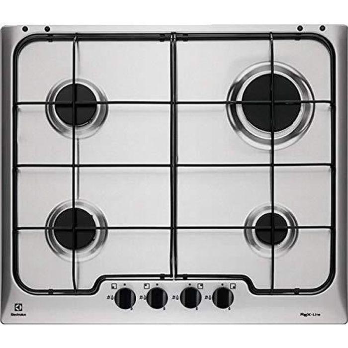 Rex Electrolux RGG 6242 OOX Plaque de cuisson en inox encastrable 4 feux gaz
