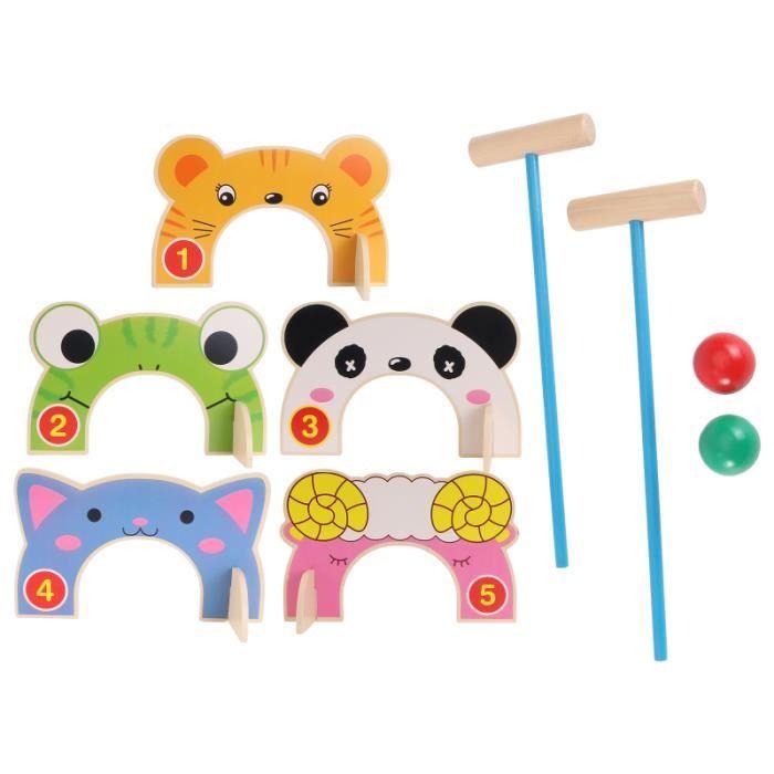 1 Ensemble En Bois Croquet Sport Jouet Reconnais Jouets Enfants Cognitive Cadeau jeu de croquet jeux de recre - jeux d'exterieur