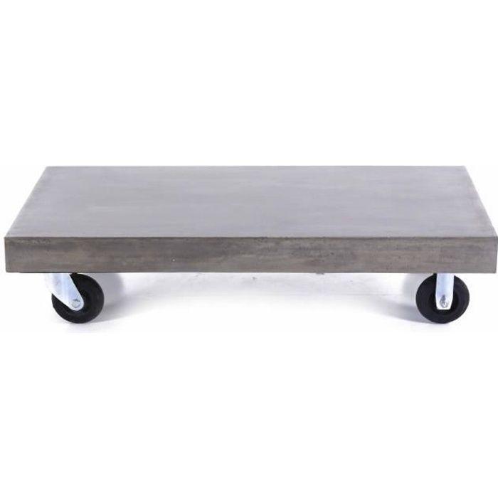 Table basse béton à roulettes 120 cm Hermitage