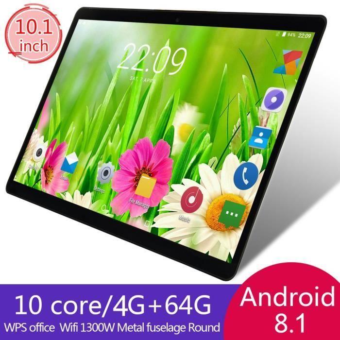 10,1 pouces Tablette Pc Android 8.1 4 Go + 64 Go Wifi 13.0Mp caméra suuport double carte noir