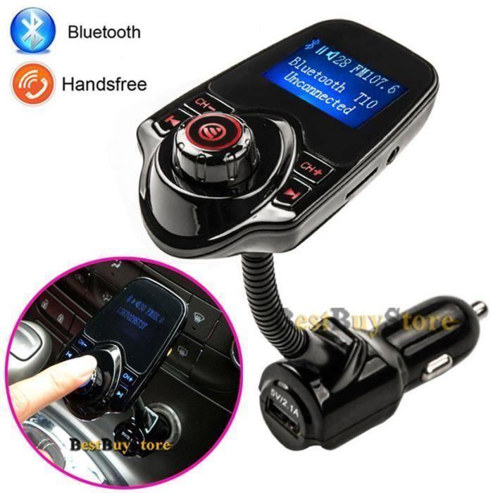 Kit mains libres Set voiture Transmetteur FM super Bluetooth musique Lecteur MP3 5V 2.1A USB chargeur de voiture, Support Micro SD