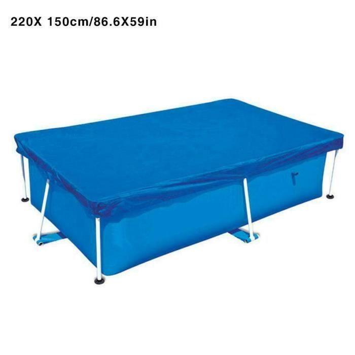 220cmx150cm Couverture de piscine imperméable UV Résistante à la poussière Couverture rectangulaire