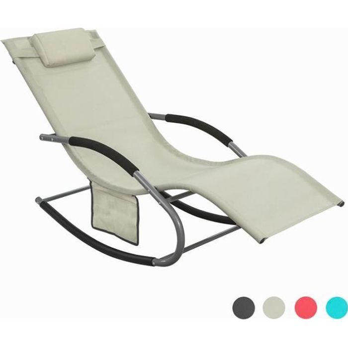 SoBuy® OGS28-MI Fauteuil à bascule Chaise longue Transat de jardin Bain de soleil avec repose-pieds et 1 pochette latérale - Beige