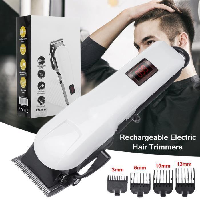 Kemei Tondeuse à Cheveux Sans fil Rechargeable - Rasoir Barbe LCD Electrique + 4 Peignes 220V