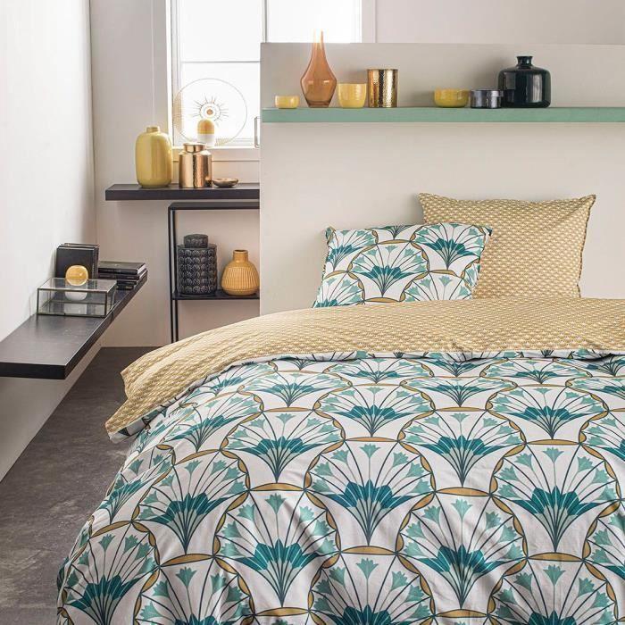 TODAY Parure de lit SUNSHINE 5.48 - 2 personnes - 220 x 240 cm coton - Imprimé Vert Floral TODAY