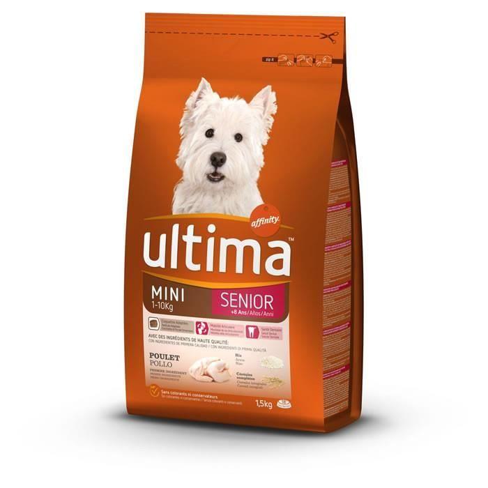 LOT DE 5 - ULTIMA Senior - Croquettes pour petit chien poulet et riz - Sac de 1,5 kg