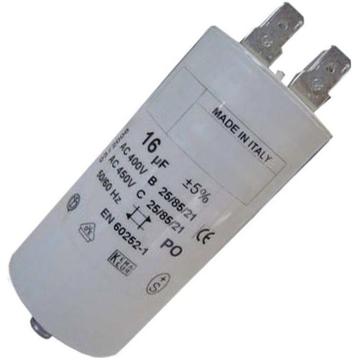 Condensateur 16mF 450V (294690-27799) - Lave-linge - WHIRLPOOL, ARISTON HOTPOINT, FAURE, LADEN, IGNIS, RADIOLA, ARTHUR MARTIN