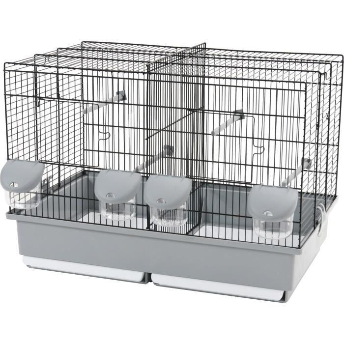 ZOLUX Cage élevage pour oiseaux - L 57 x P 31 x H 41 cm - Noir et gris