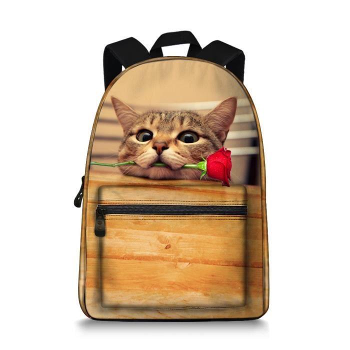 SAC À DOS Ordinateur portable Toile animal chat Sac à dos Ad