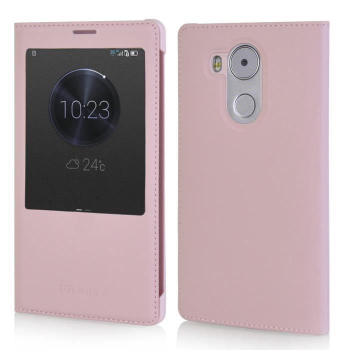Housse tui pour huawei mate 8 rose flip cover folio cuir for Housse huawei mate 8