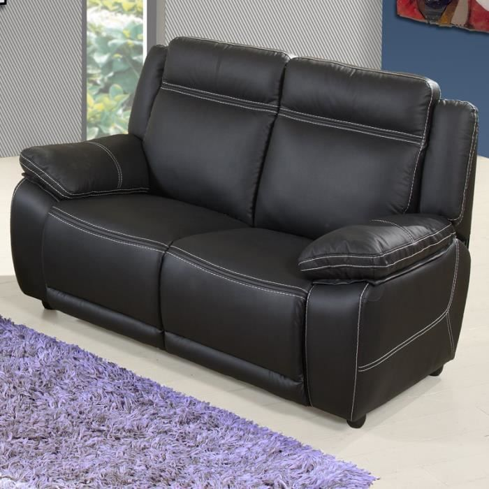 canap 2 places fixe en cuir angie achat vente canap sofa divan cdiscount. Black Bedroom Furniture Sets. Home Design Ideas