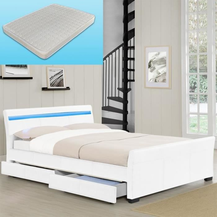 lit blanc avec coffre de rangement et matelas 140 x 200 cm. Black Bedroom Furniture Sets. Home Design Ideas