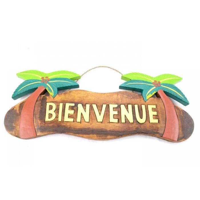 Plaque de porte en bois bienvenue decor cocotiers for Decoration porte bienvenue