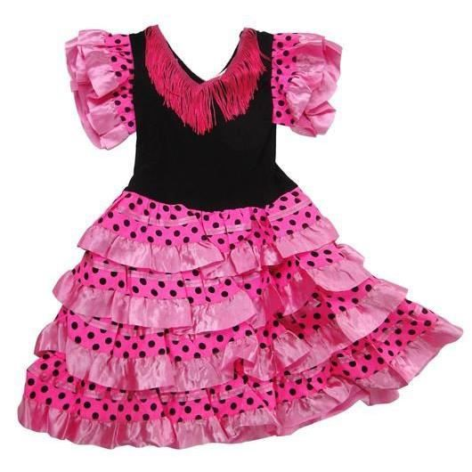 DÉGUISEMENT - PANOPLIE Robe de danse flamenco fillette 4 ans rose à pois