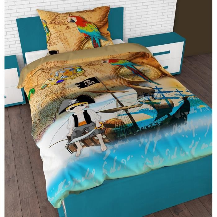 parure de lit housse de couette pirate achat vente housse de couette cdiscount. Black Bedroom Furniture Sets. Home Design Ideas