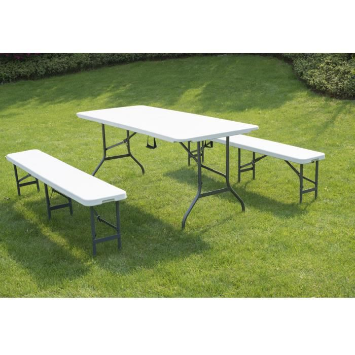 table de camping pliable avec 2 banc 180cm prix pas cher. Black Bedroom Furniture Sets. Home Design Ideas