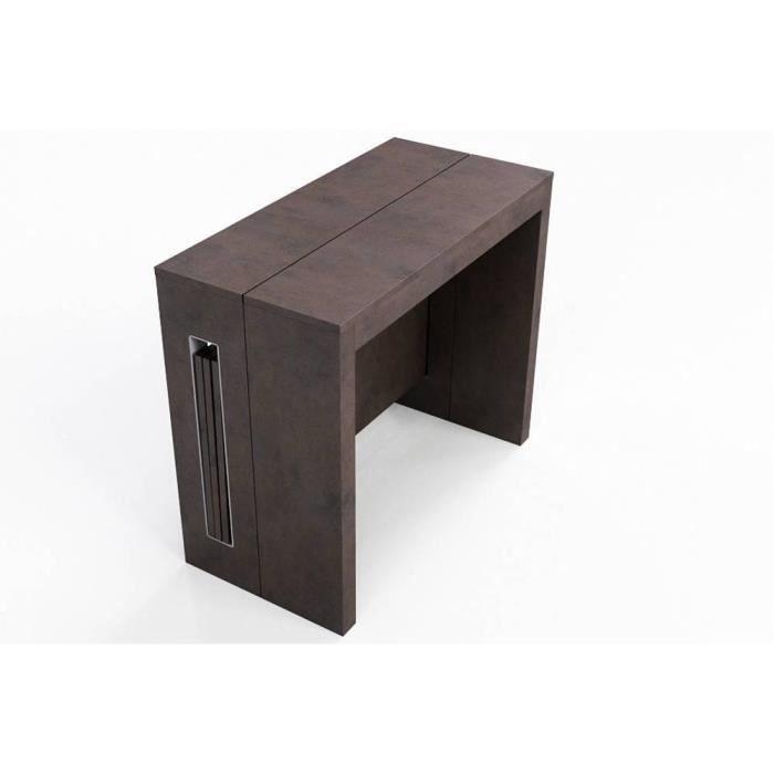 console extensible 8 couverts topaz 90 cm vintage avec allonges integrees marron mdf inside75