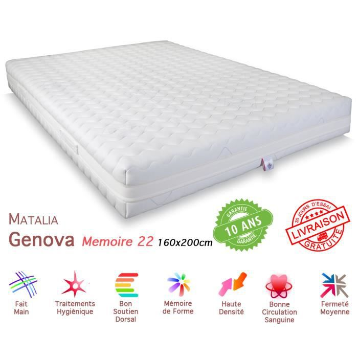 matelas matalia genova m moire de forme 22 160x200 achat. Black Bedroom Furniture Sets. Home Design Ideas