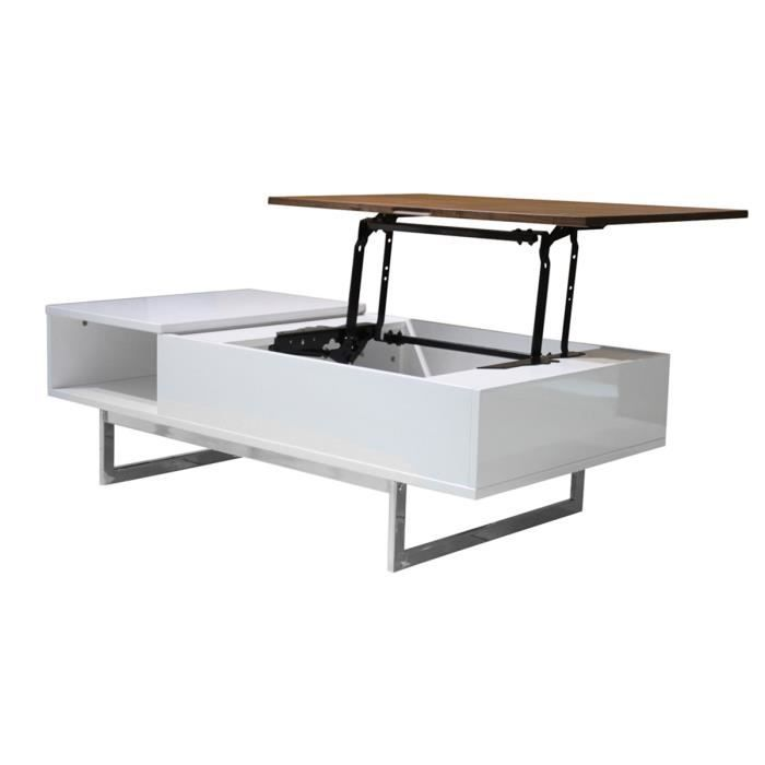 Table basse avec plateau relevable blanc noyer achat for Table basse scandinave plateau relevable