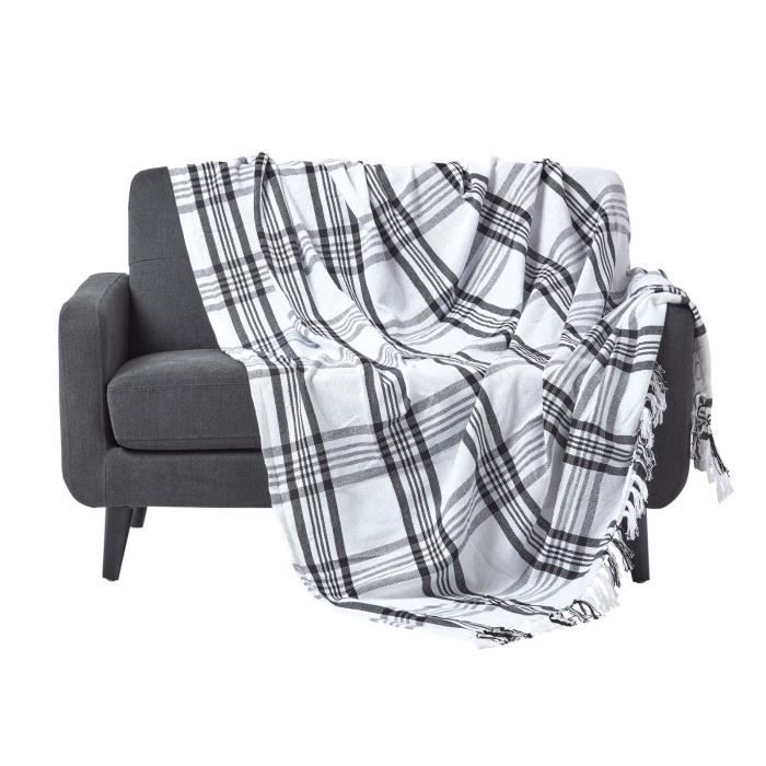 jet de lit ou de canap tartan noir et blanc 150 x 200 cm achat vente jet e de lit boutis. Black Bedroom Furniture Sets. Home Design Ideas
