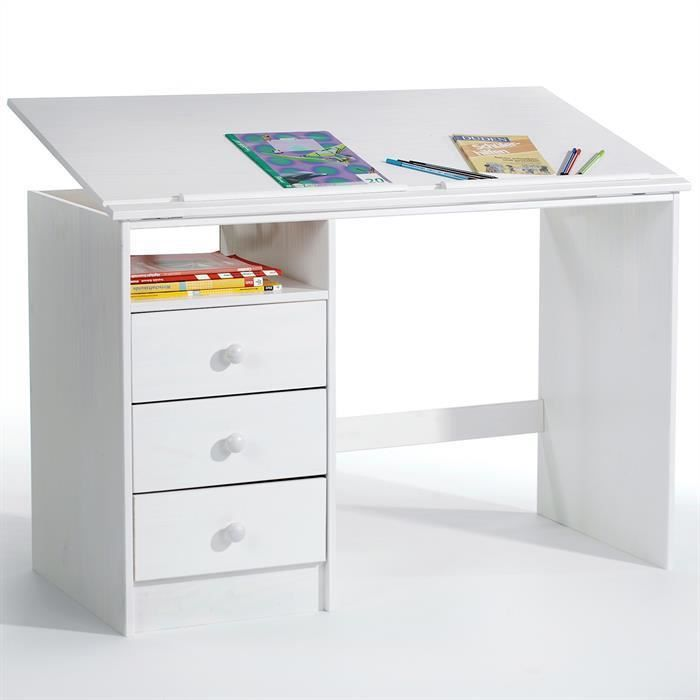 bureau enfant 3 tiroirs lasur blanc achat vente. Black Bedroom Furniture Sets. Home Design Ideas