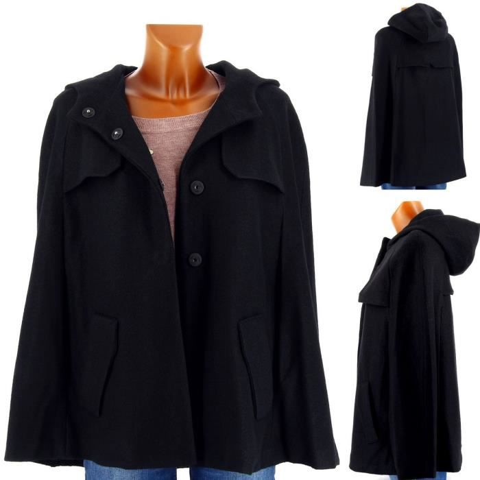 cape poncho manteau capuche marcelle femme noir achat vente imperm able trench cdiscount. Black Bedroom Furniture Sets. Home Design Ideas