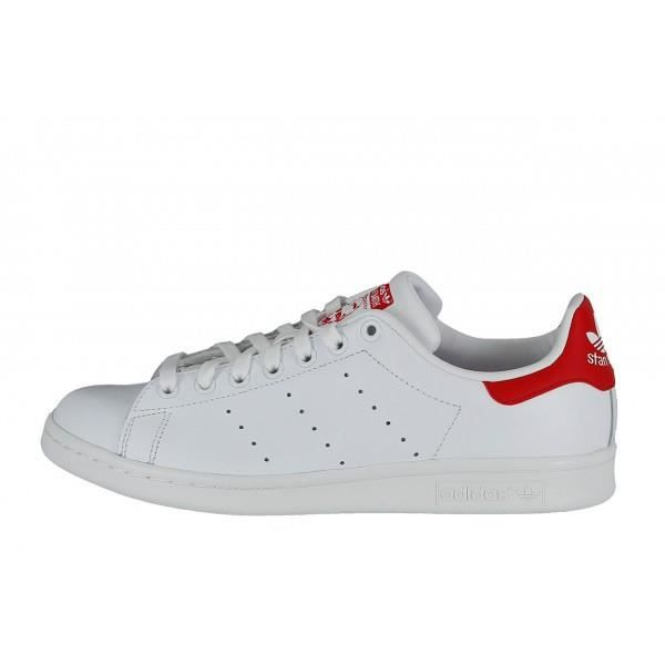 ADIDAS ORIGINALS Basket Mixte Stan Smith M20326 - Cuir - Blanc et Rouge