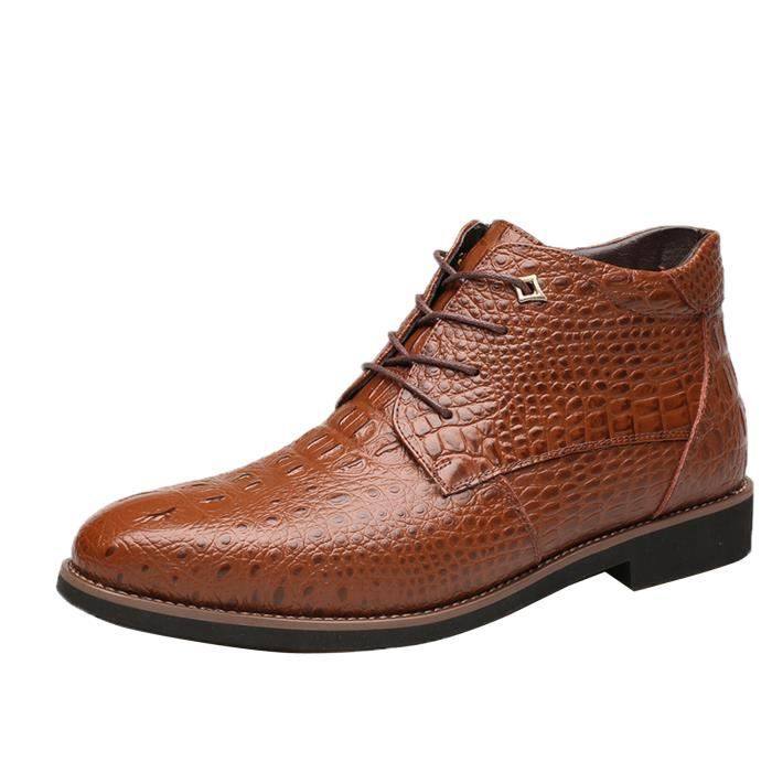 Boots Hiver Mode Homme Chaussure Cuir Montante
