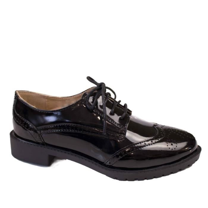 Derbies femme noires vernies semelle interieure cuir baskets ... 578d6389514