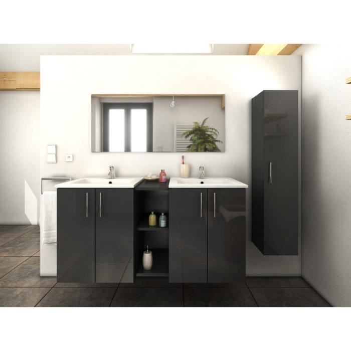 paris prix ensemble meuble salle de bain latina 120cm gris achat vente salle de bain. Black Bedroom Furniture Sets. Home Design Ideas