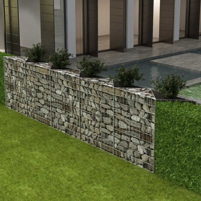 vidaxl panier gabion jardini re parterre sur lev acier 330x30x100 cm achat vente. Black Bedroom Furniture Sets. Home Design Ideas