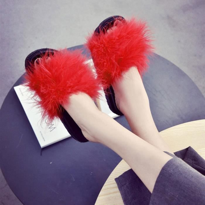 Fluffy Faux Dames Fourrure On Sliders Rouge Sandale Flat Cqq70801342rd Zareste®femmes Slip Slipper Flip Flop IfHqxwcZ