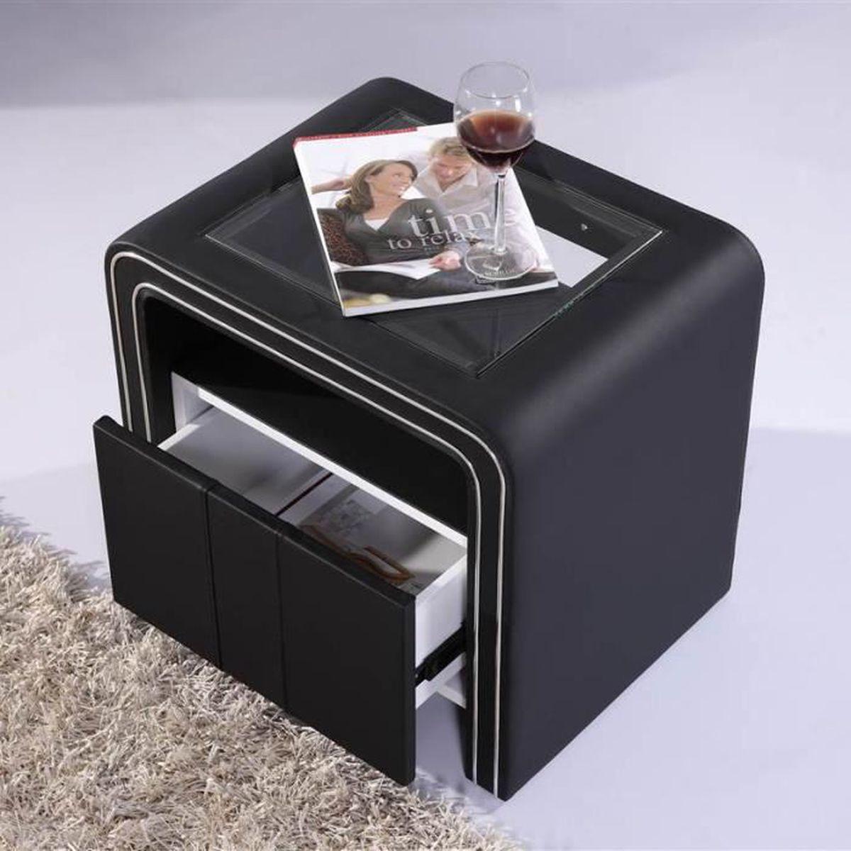 Table De Chevet Design En Simili Cuir Noir