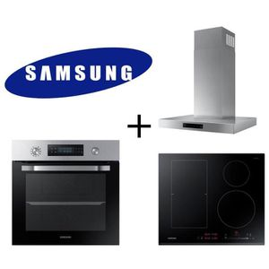 PACK CUISSON SAMSUNG - NV66M3571BS Four chaleur pulsée + NZ64K5747BK Table induction + NK24M5060SS/EF Hotte murale