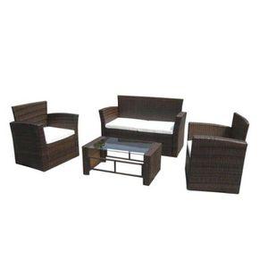 Ensemble table et chaise de jardin YaJiaSheng 8 pcs Jeu de canapé de jardin Marron Ré