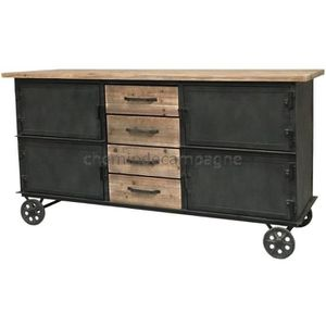 buffet industriel achat vente buffet industriel pas cher cdiscount. Black Bedroom Furniture Sets. Home Design Ideas