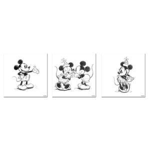 TABLEAU - TOILE Disney set de 3 toiles imprimées Mickey Minnie Ske