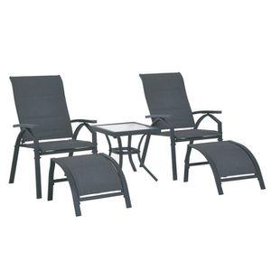 Ensemble table et chaise de jardin Ensemble de jardin 5 pièces Hossegor gris