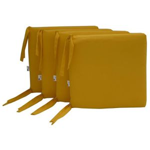 COUSSIN DE CHAISE  Lot de 4 assises déhoussables coloris jaune - Dim