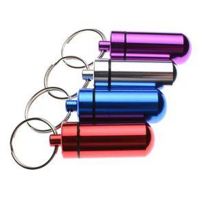 Lot de 6/mini Coque en aluminium /étanche Bo/îte /à pilules pilule M/édicament Support Bouteille R/écipient keychian porte-cl/é pour Voyage Camping Ext/érieur Couleur al/éatoire