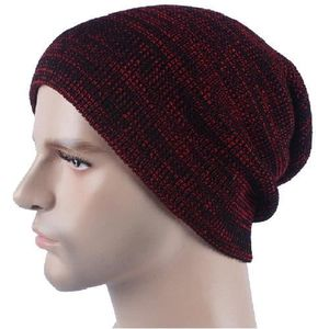 BONNET - CAGOULE Bonnet vin rouge Chapeau à tricoter à rayures en a