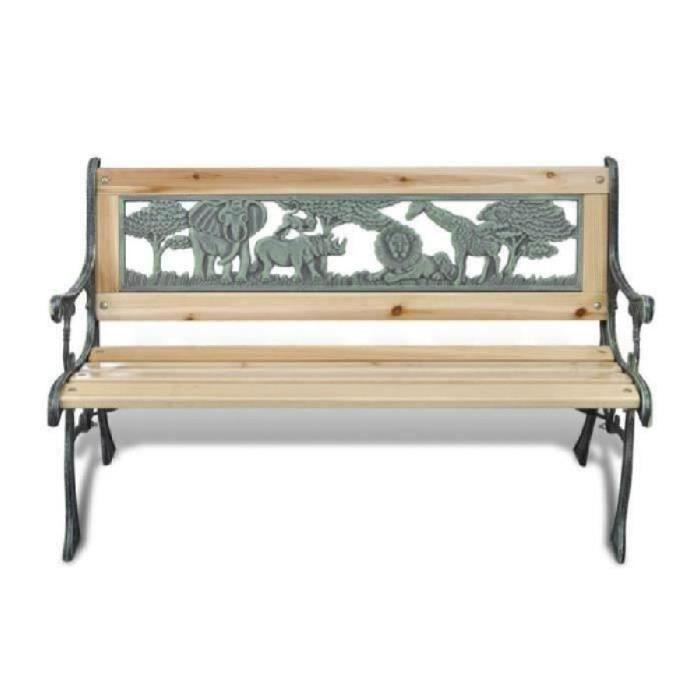 Banc de jardin enfant fonte et bois 80 x 24 cm
